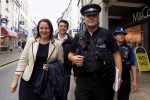 From left: PCC Alison Hernandez, MP Scott Mann, Inspector Rob Mooney and PCSO Debbie Knowlden walking down Bodmin Fore Street.